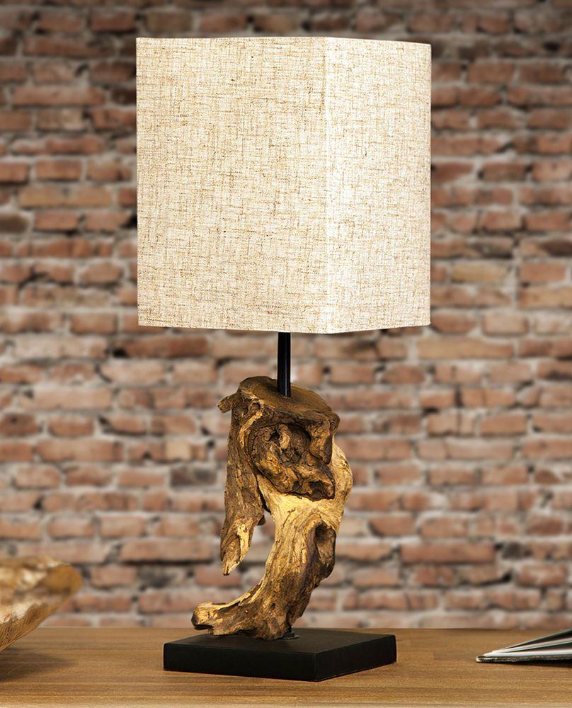 Tischleuchte Massivholz Lampe Tischlampe aus Holz Holzlampe Treibholz 45cm hoch