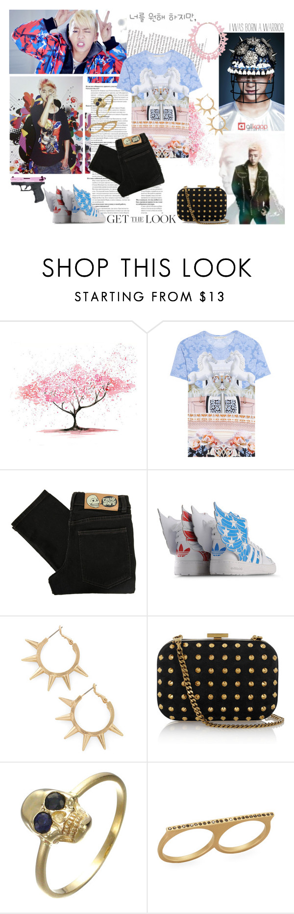 """""""Bang Yong Guk."""" by fruitmachine ❤ liked on Polyvore featuring Mary Katrantzou, Cheap Monday, adidas, Ek Thongprasert, Gucci, Social Anarchy, skinny jeans, colored jeans, high top sneakers and all over print shirts"""