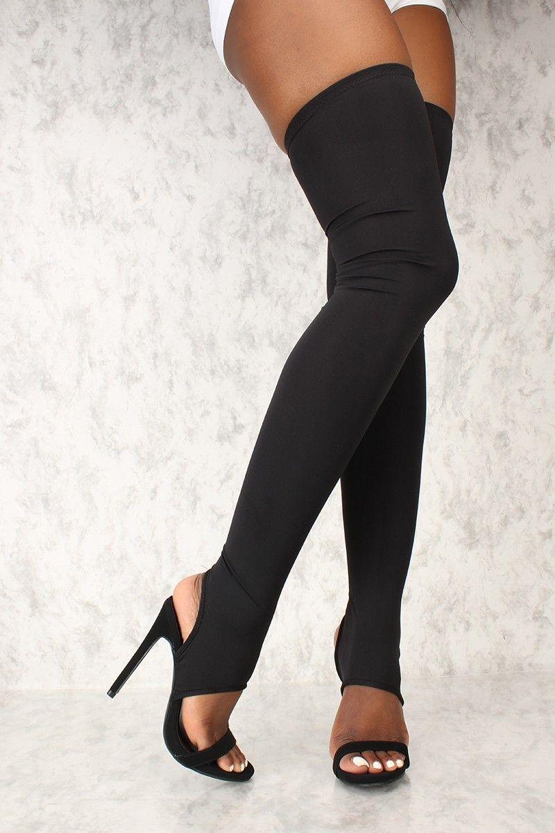 Sexy Nero Open Toe Cut Cut Cut Out Thigh High Heel Stivali in 2018   How High   183f5f