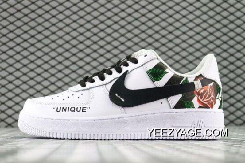 shoes, white, roses, nike, nike air force 1, nike shoes