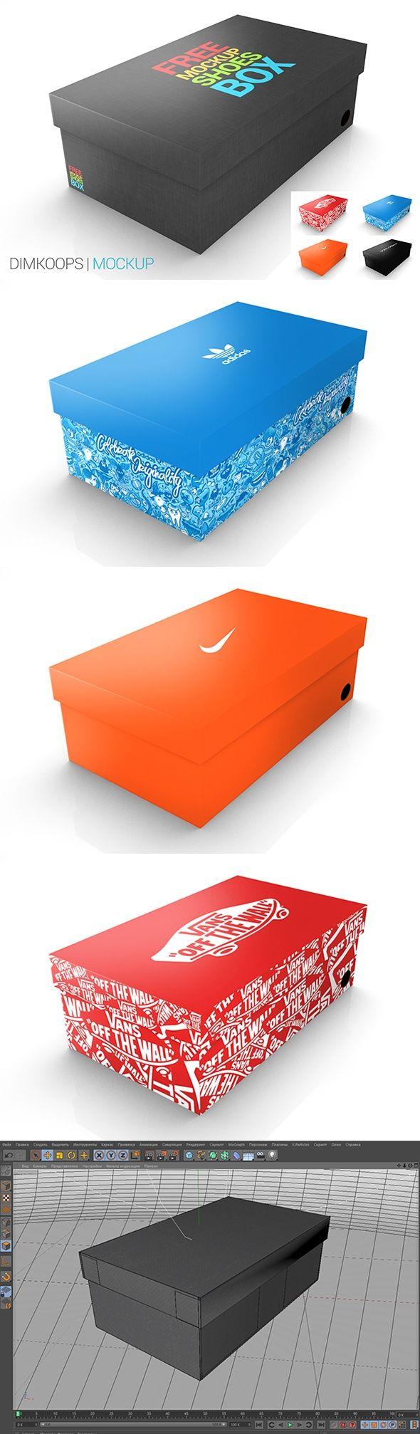 Download Free Mockup Shoes Box Desain Seni