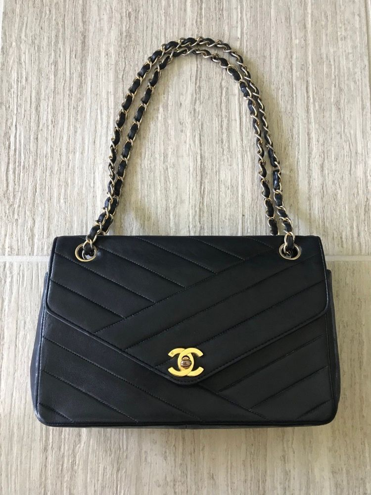 Authentic Vintage Chanel Black Leather Quited Hand Bag Circa 1980 Purses Fashion