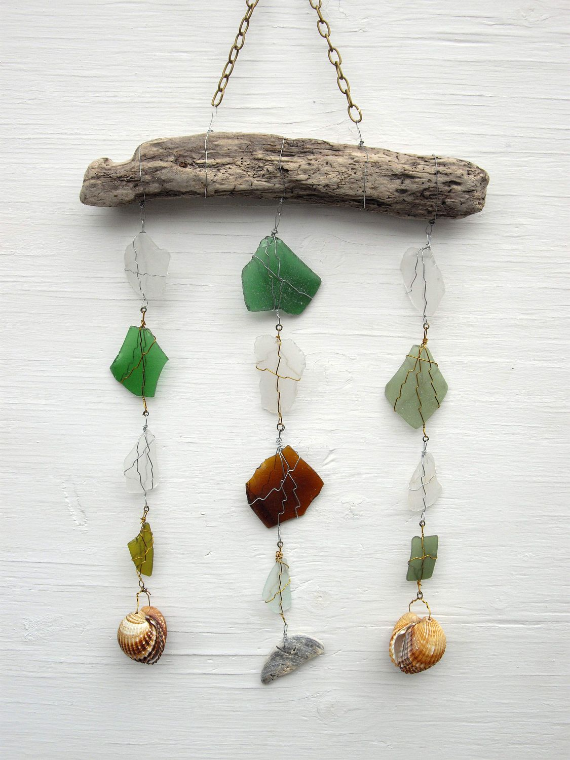 Driftwood & Sea Glass Mobile windchime. £14.95, via Etsy. #handmade #driftwood #seaglass