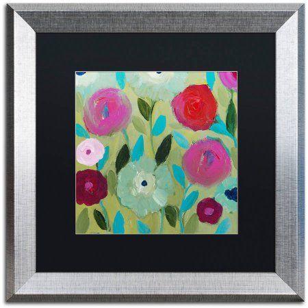 Trademark Fine Art Peace Canvas Art by Carrie Schmitt, Black Matte, Silver Frame, Multicolor