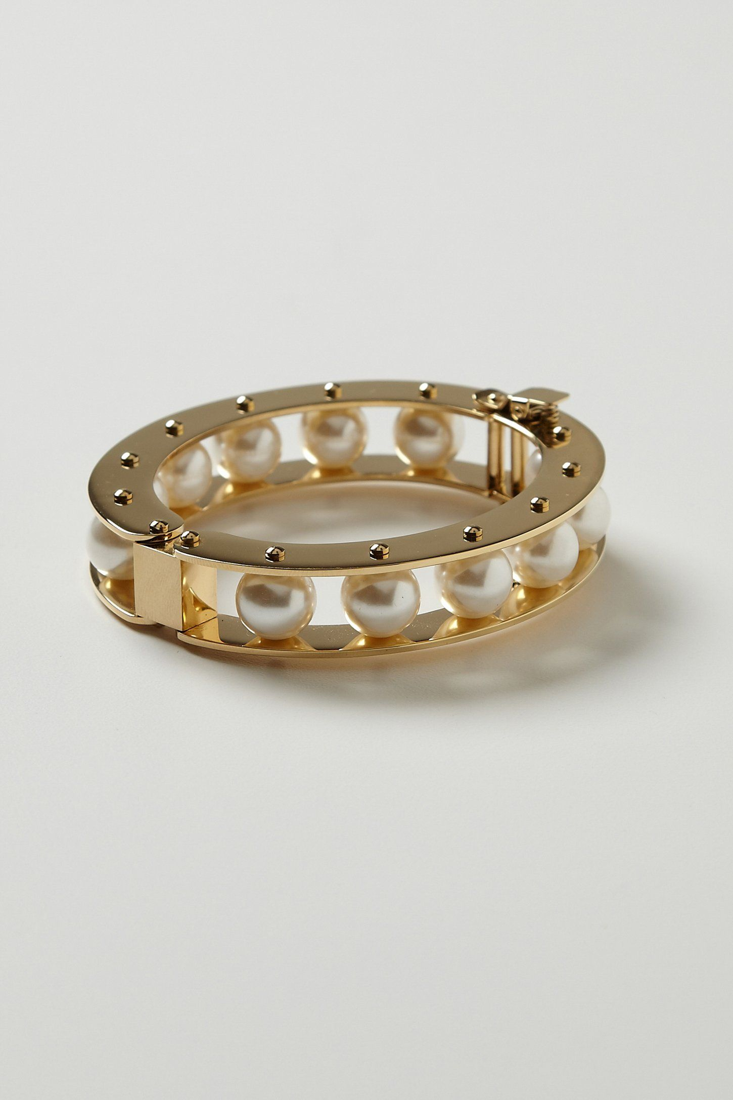Lele Sadoughi, Eshe Pearl Bracelet, 14K gold plated steel, glass