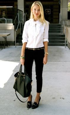 Fashion, Style, Prada Bag, Black And White, White Shirts, White Outfit, Work Outfits, Black Pants, Belts