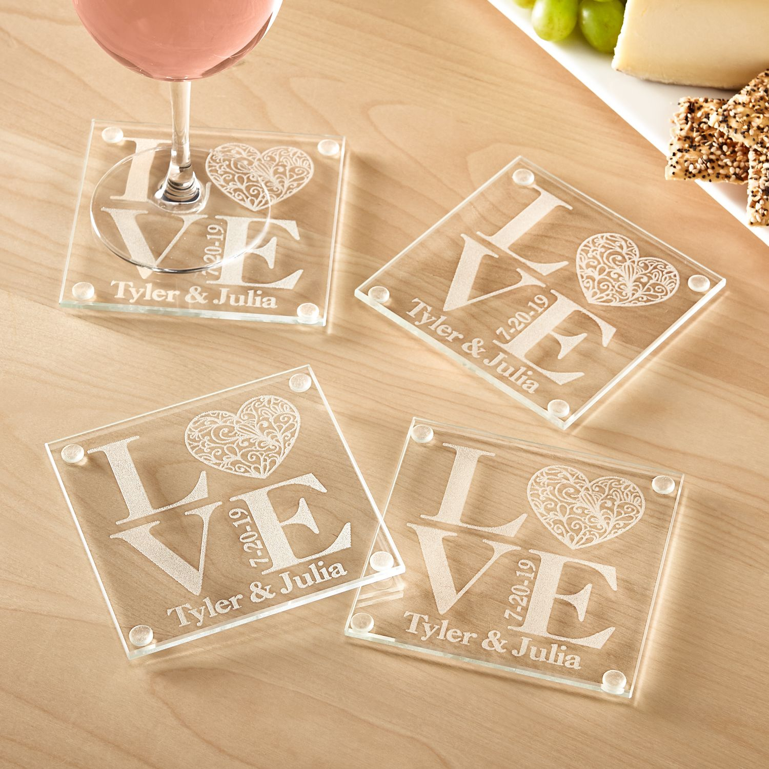 Personalized Our Love Glass Coasters - Walmart.com Personalized