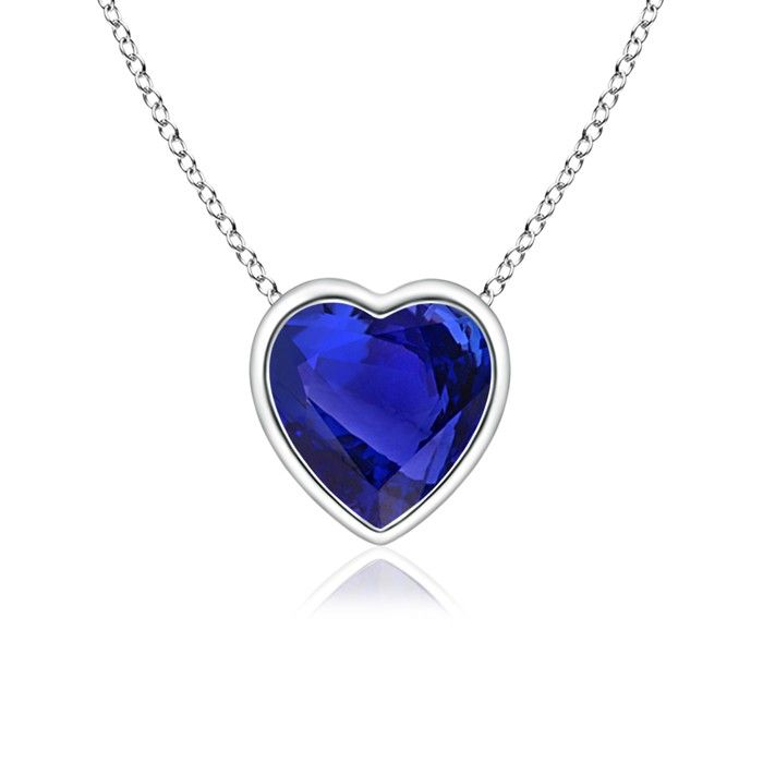 Angara Heart-Shaped Tanzanite Ribbon Pendant with Diamond