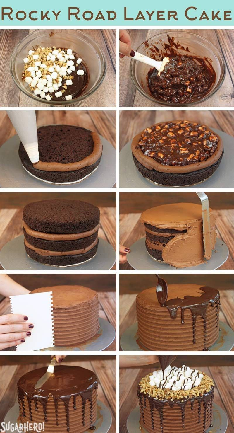This is actually a fruit chocolate cake and it look so yummy. How To Make A Rocky Road Layer Cake A Rich Tall Layer Cake Loaded With Marshmallows Nuts And Tons Of Chocolate From Su Cake Recipes Baking No Bake Cake