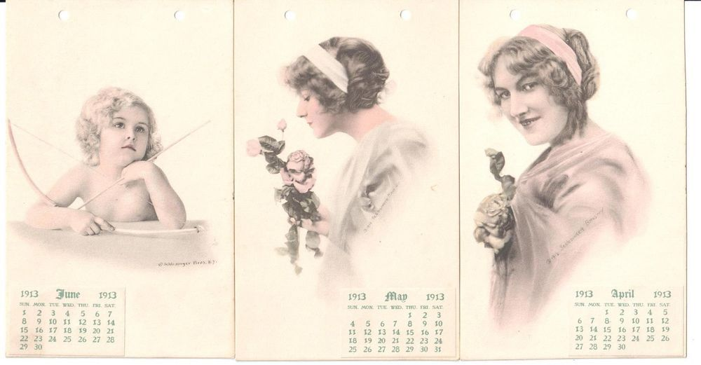 April Rose Calendar : April june calendar hand painted art postcards ladies