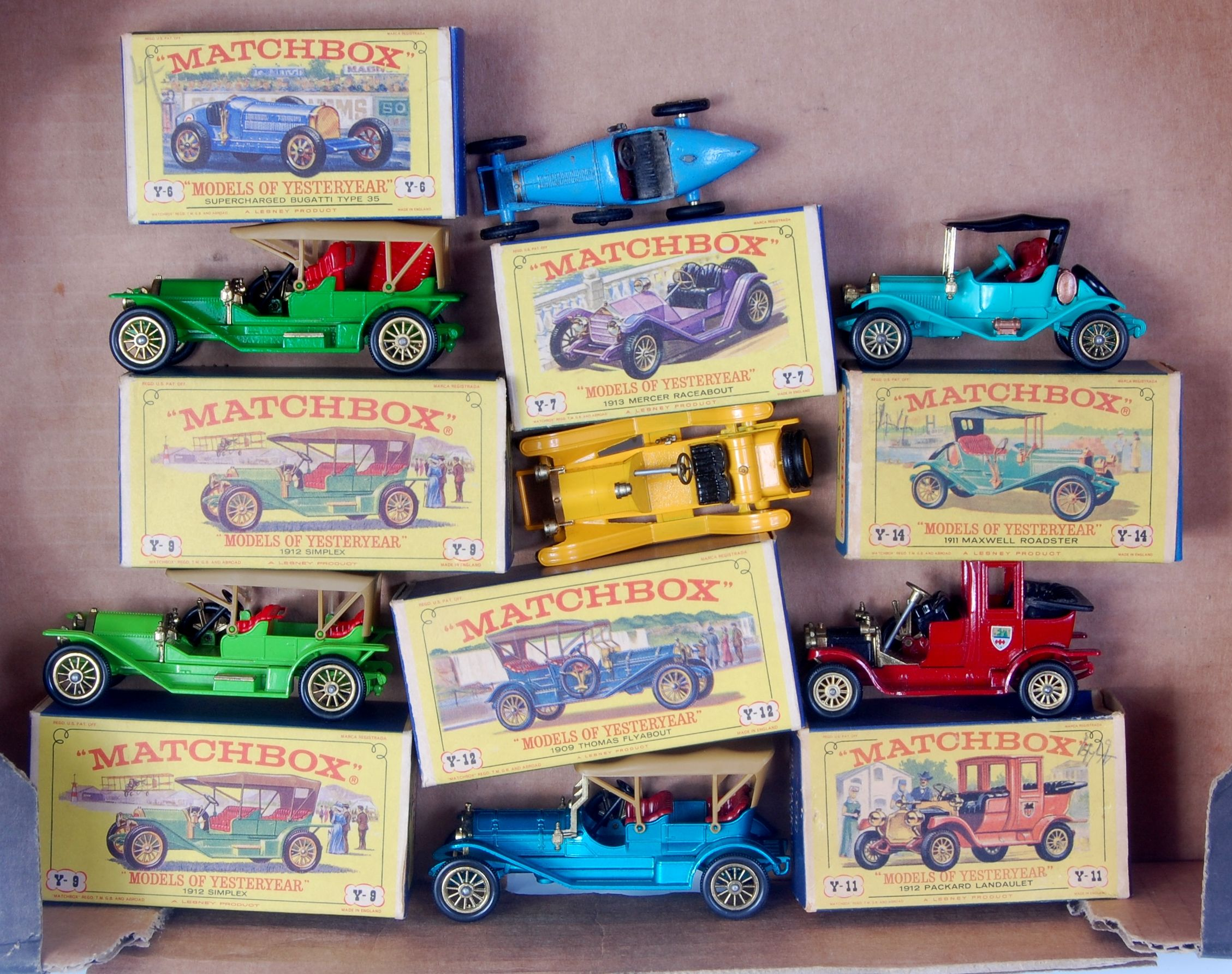 Lot 2303 - Matchbox models of yesteryear D and E type boxed group, 7 boxed models, 1 example is play worn, all