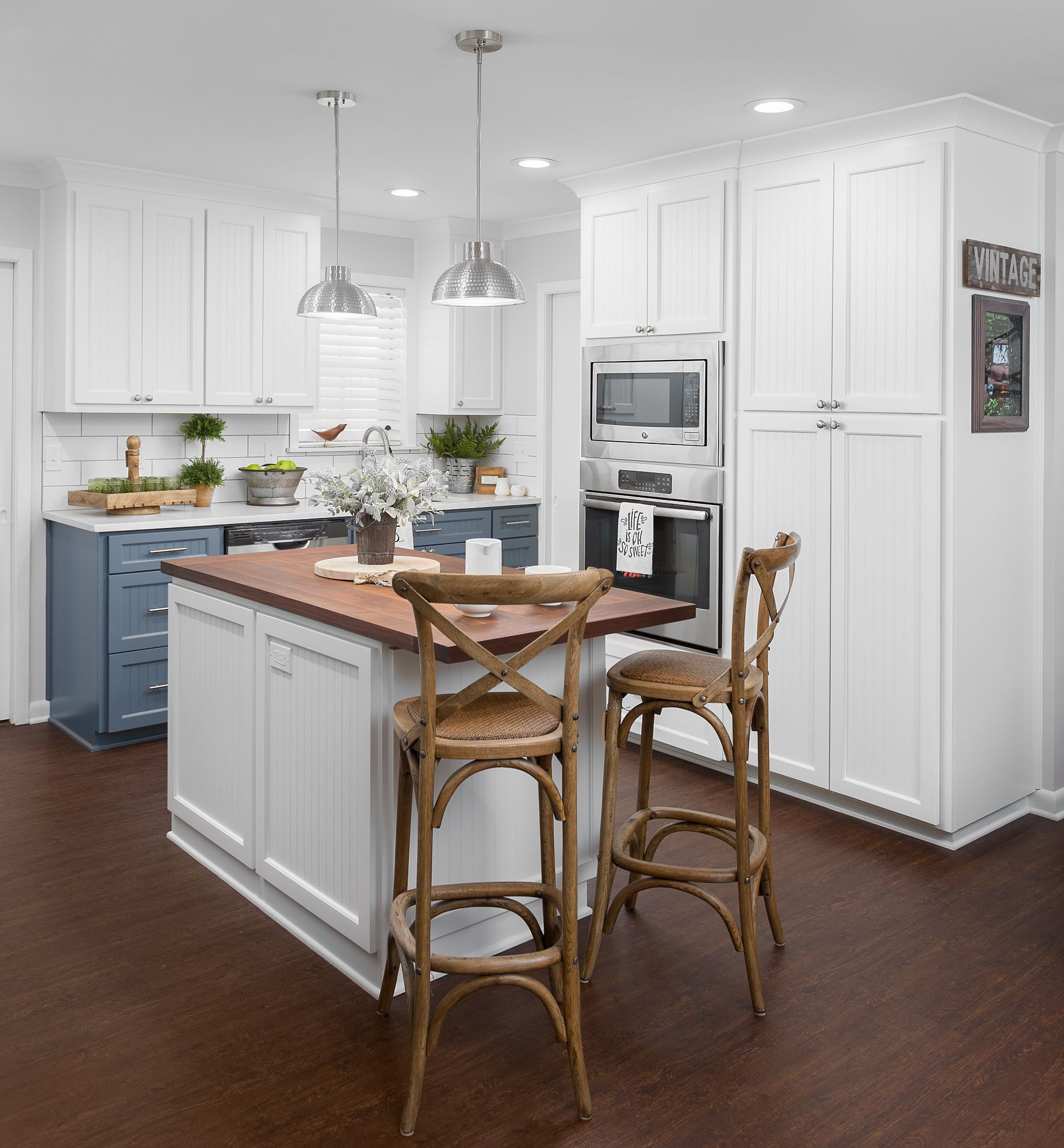Walnut Butcher Block Kitchen Island And White Beadboard Custom Cabinets