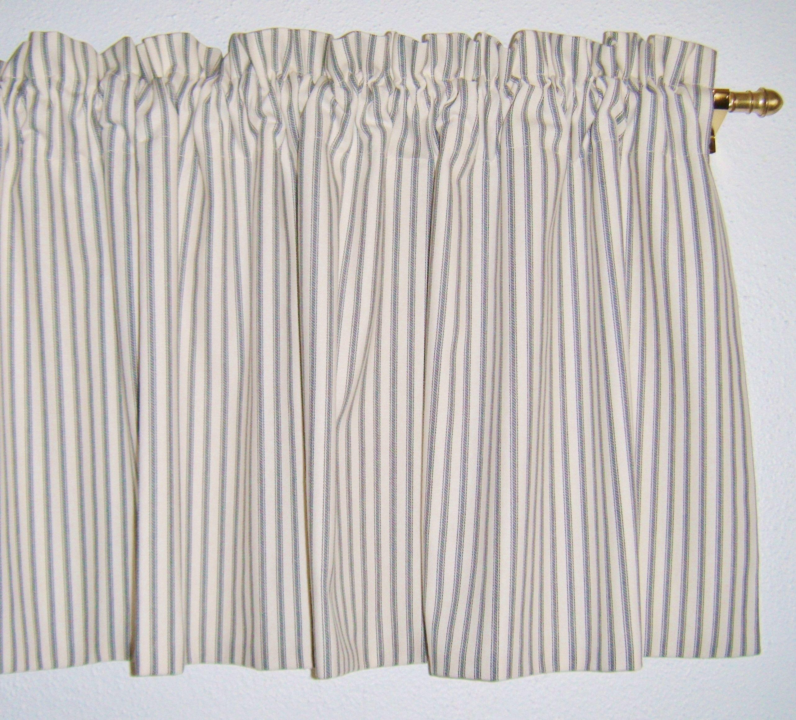 Ticking Stripe Window Valance, Gray, Red, Black, Aqua, Brown, Blue
