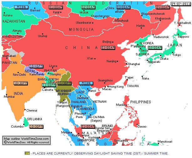 Map Of Asia Time Zones.Asia Timezones Maps Facts About Time Asia Travel Time Zones