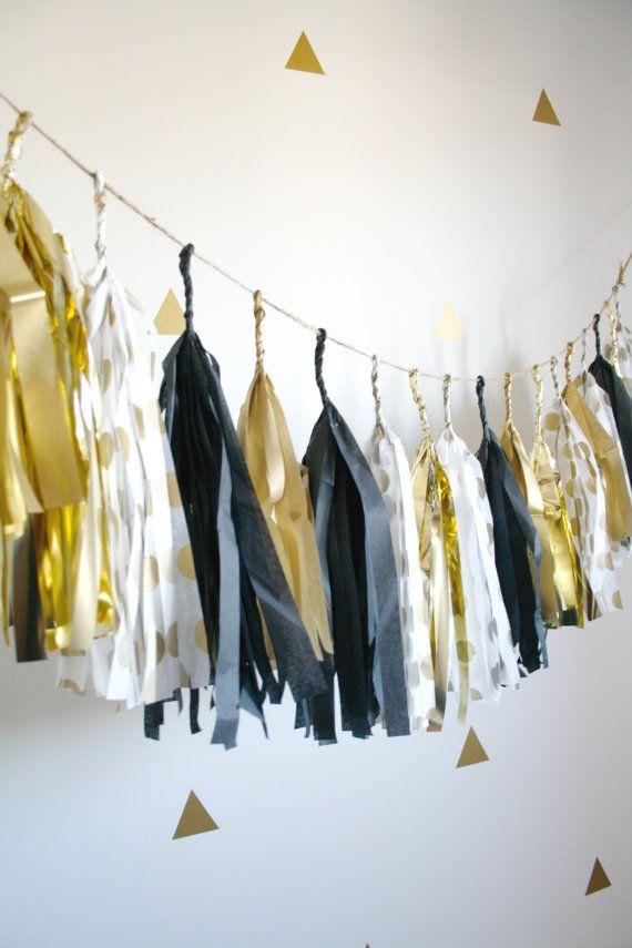 New Years Eve Decoration, Gold, Black, White Tassel Garland - NYE 2016, Black and Gold Wedding Decor