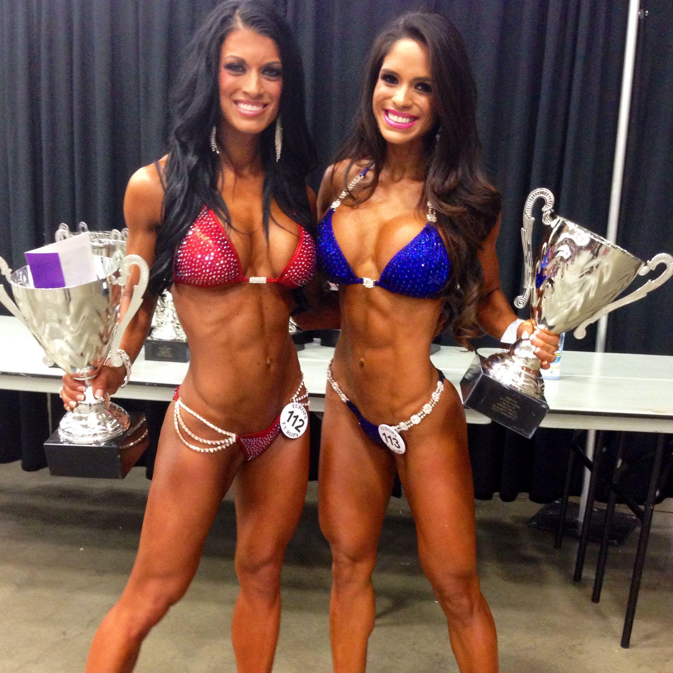 Ifbb pro Jenee Leger and Ifbb pro Michelle Lewin at 2014 Europa Dallas. Fit bikini girls
