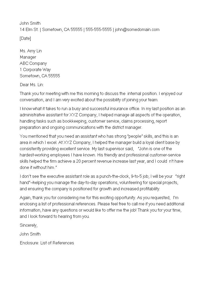 thank you letter after an internal interview how to write a thank you letter after