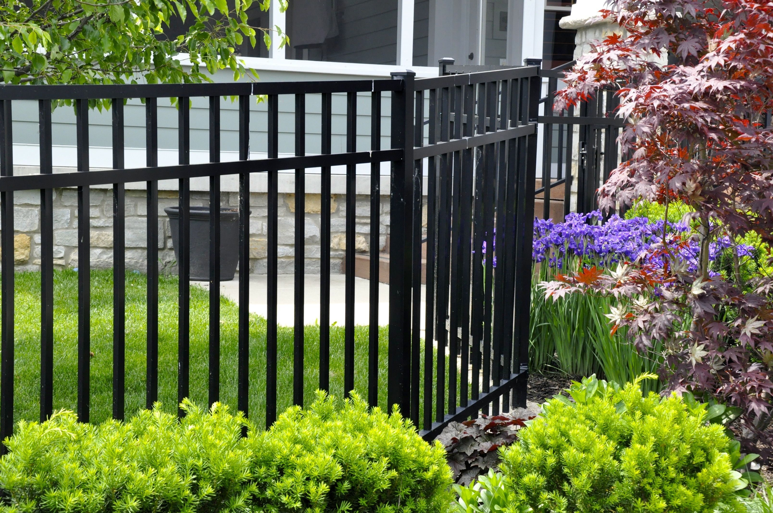 Simple And Elegant Black Wrought Iron Fence