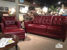 La Z Boy Sofa With Chair Ottoman In A Cherry Red Top Grain Leather