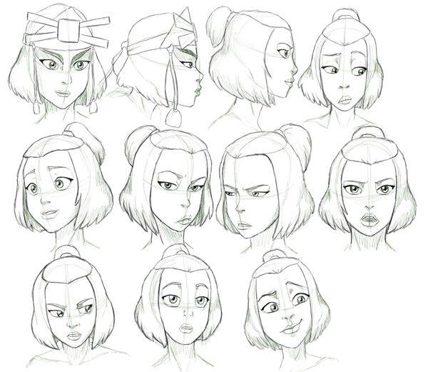 Suki from avatar the last airbender expressions study by nylak