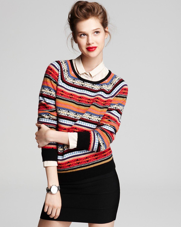 8c3fbf0c6c2 Aqua Cashmere Sweater - Fair Isle Crewneck