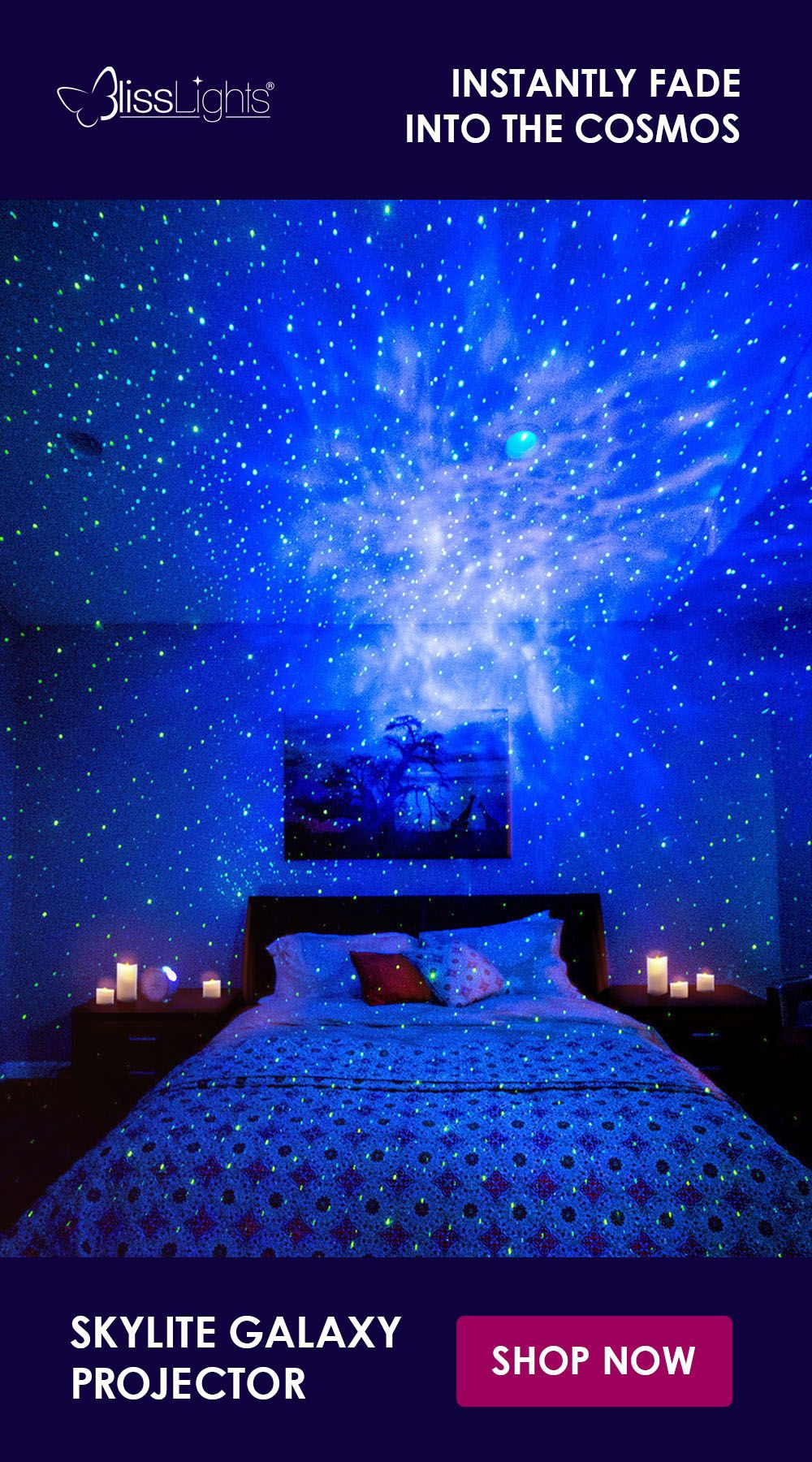 The Skylite Instantly Projects A Field Of Drifting Stars Against A Transforming Blue Nebula Cloud Enhance Your Home Theater Ex Room Decor Bedroom Dream Rooms