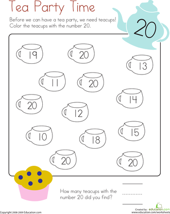 Number 20 Coloring Page Worksheet Education Com Printable Preschool Worksheets Kindergarten Worksheets Free Printables Preschool Number Worksheets