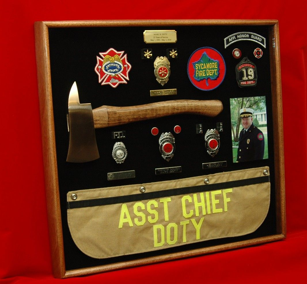 Fire Chief Retirement Gift Shadow Box Made To Order By Shadowboxusa Http Shadowboxusa Com Firefighter Retirement Gifts Shadow Box Retirement Gifts