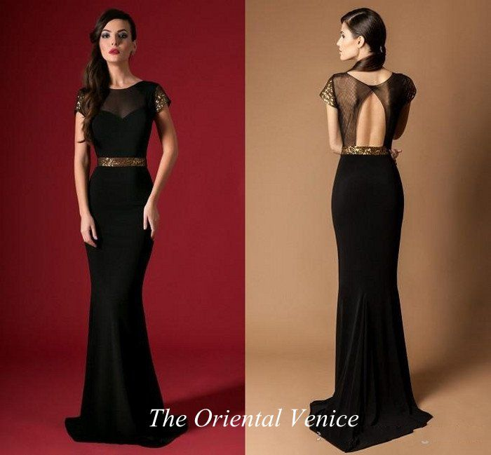 Black Gold Sequin Evening Dress with Short Sleeves Open Back Mermaid ...