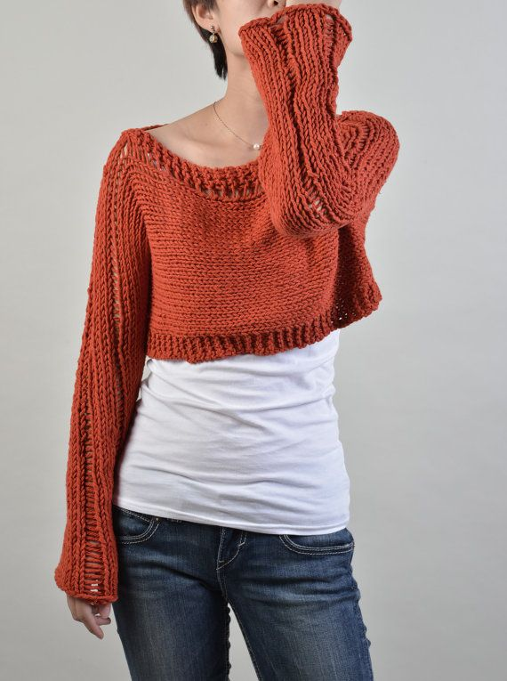 Hand knit sweater, Little shrug, cover up top in Brick Red | Crochet ...