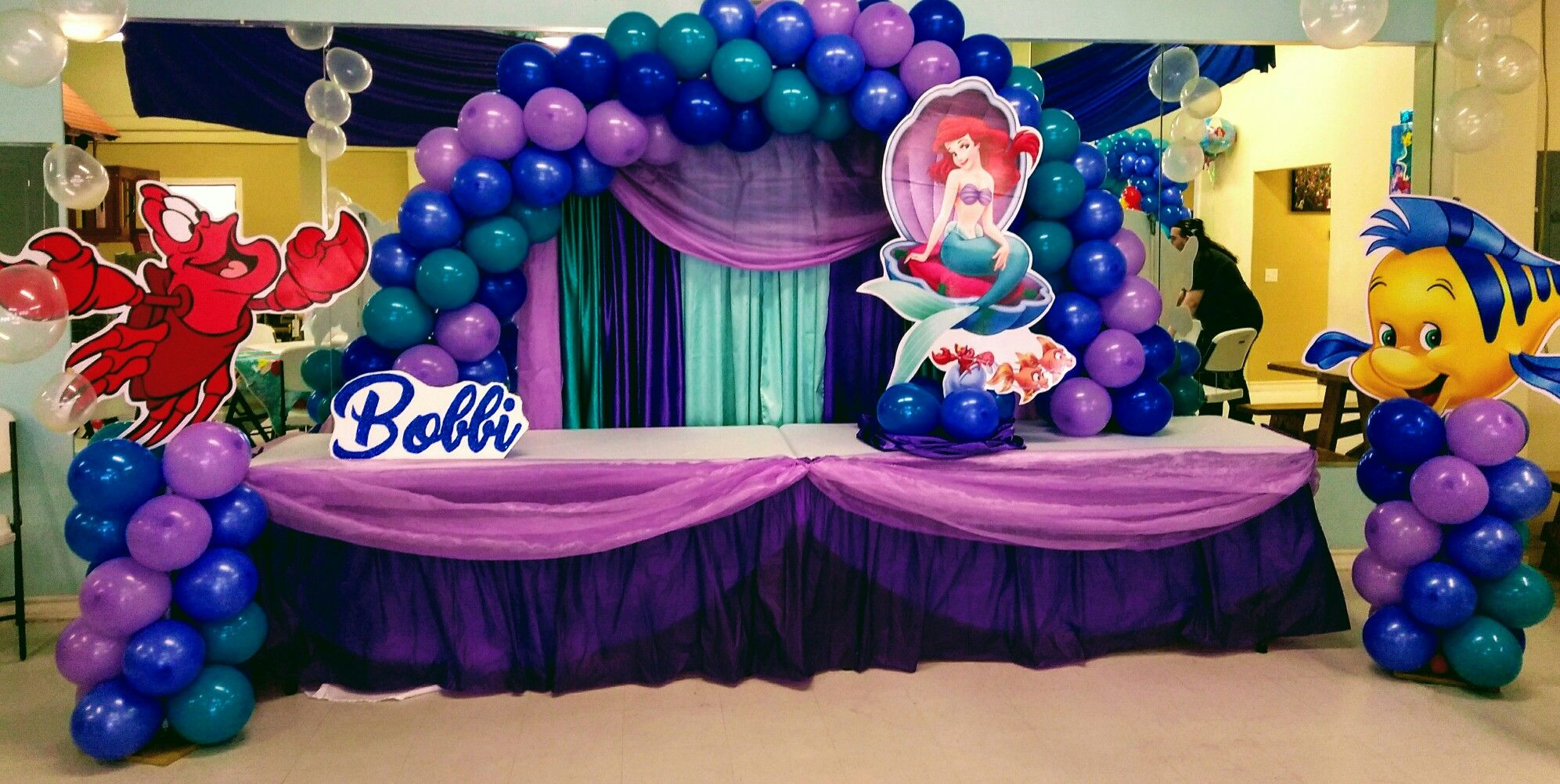 Little Mermaid Theme Birthday Party Balloon Arch And Pillars Blue Sky Party P Mermaid Theme Birthday Little Mermaid Centerpieces Mermaid Theme Birthday Party