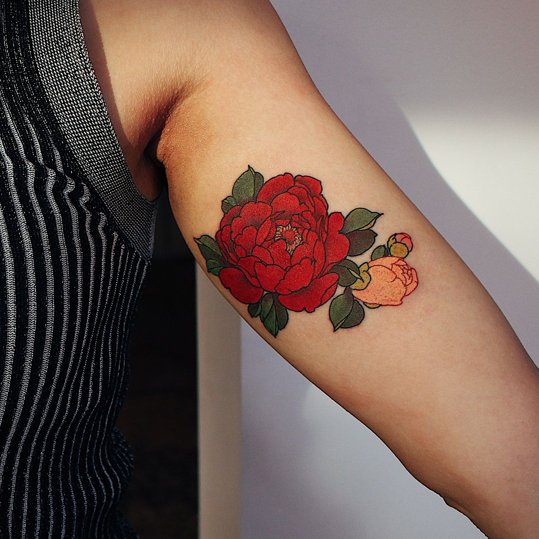 7 190 Likes 15 Comments Jinpil Yuu Yuuztattooer On Instagram Peony Done At The Ravens Ink With Quantumtattooinks Z Tattoo Autumn Tattoo Cover Tattoo