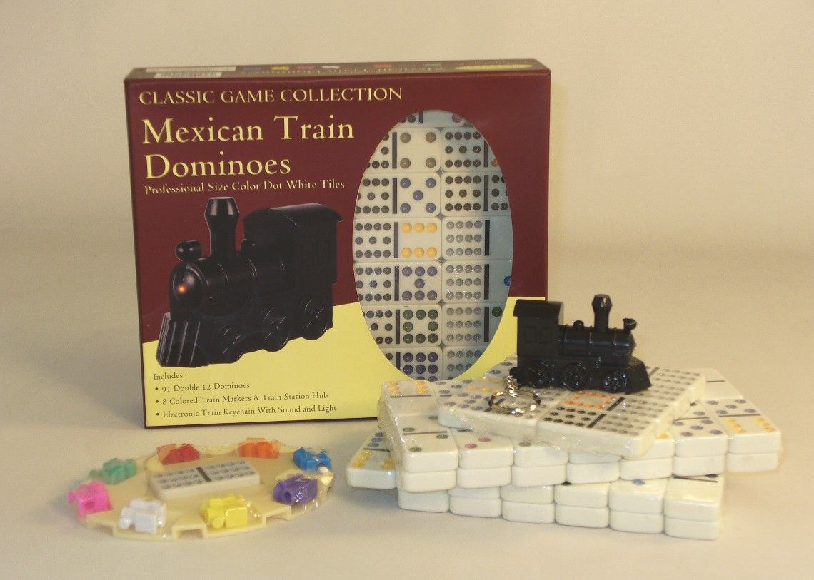 Double 12 Color Dot Dominoes Mexican Train, hot game, very
