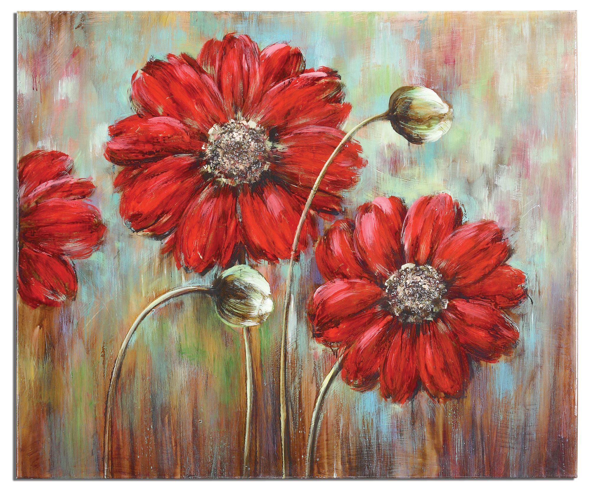 Shining Stars Floral Painting On Canvas Red Flower Wall Art Home Decor Large