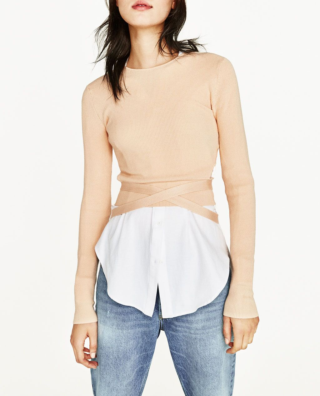 CROPPED SWEATER WITH RIBBON - Available in more colours ...