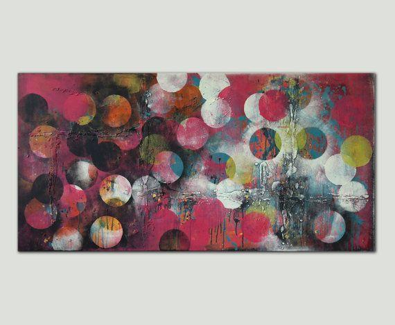 "Cirkels abstrakte Malerei - Rosa Cirkel Online - Acryl moderne Kunst - 59,1 ""x 27,6 Ronald Hunter Gemälde"