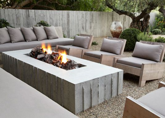 Shrader Design Outdoor Fireplace Fire Pit Concrete