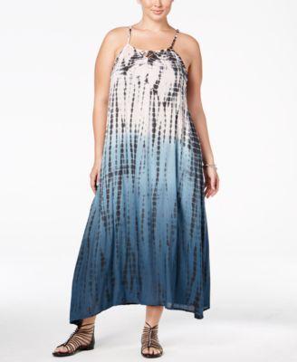 19ed73ce867ef Raviya Plus Size Tie-Dyed Lattice-Back Cover-Up Dress