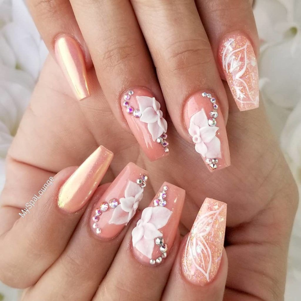 51 Impressive 3d Flower Coffin Nail Art Designs In 2020 Nail Art