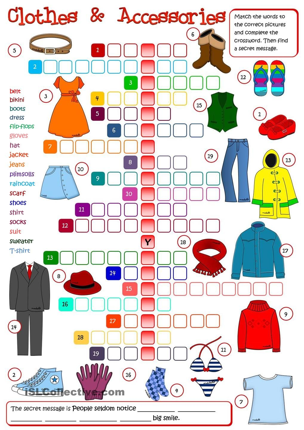 Clothes And Accessories Crossword Clothes Pinterest