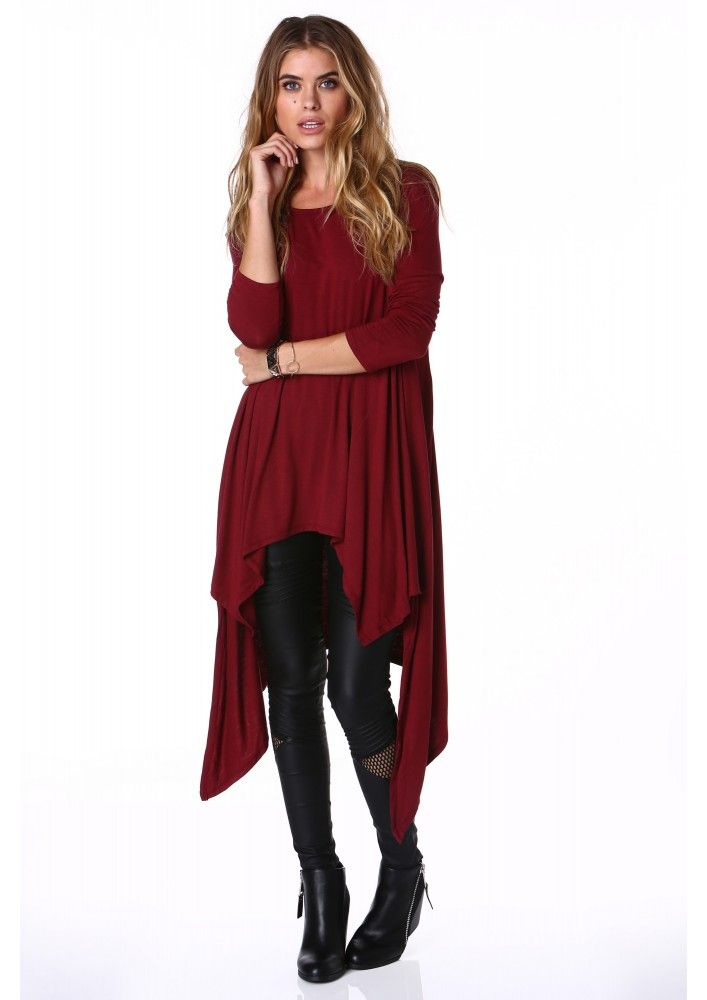 Lazy Days Asymmetrical Long Sleeve Top in Wine | Necessary Clothing