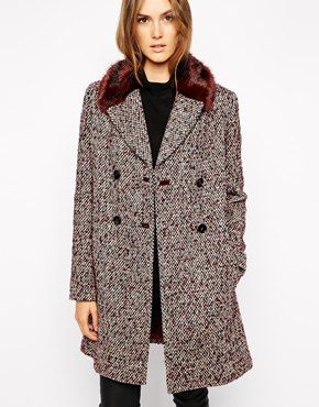 Tweed Fur Coat
