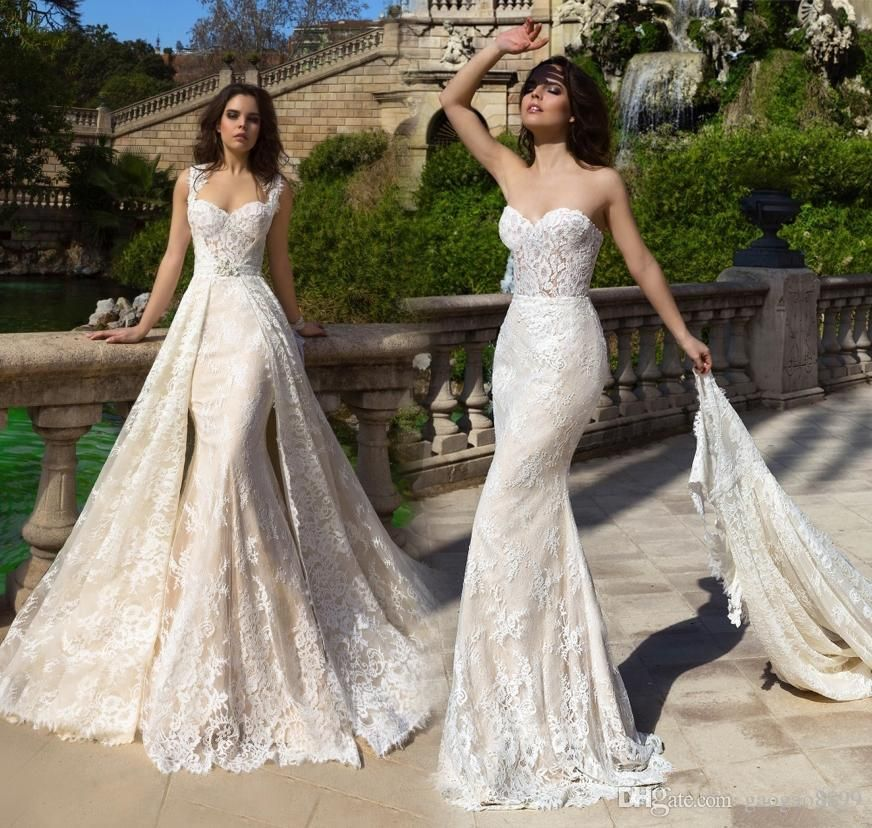 Mermaid two pieces castle wedding dresses with detachable for Winter mermaid wedding dresses