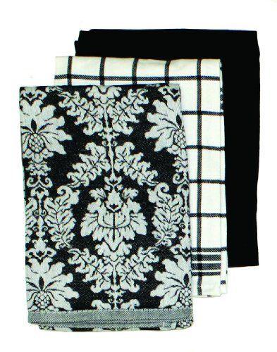 Ritz Damask Egyptian Flat Kitchen Towel Set Black 3 Piece By