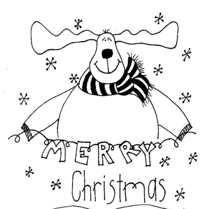 Merry Christmas Coloring Pages Reindeer   Для квилта: Новый год ...