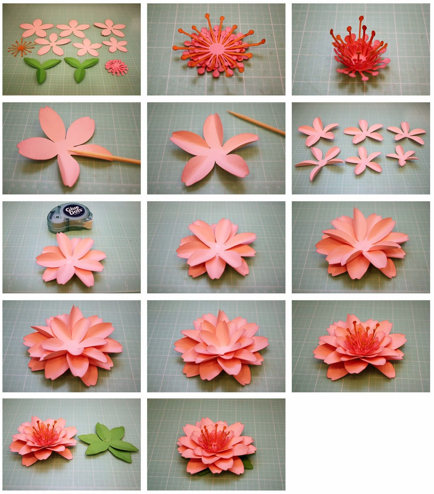 Bits of paper daffodil and cherry blossom 3d paper for How to make a paper rose origami