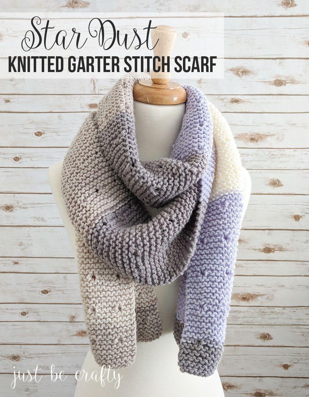 Star Dust Knitted Garter Stitch Scarf Pattern Moogly Community
