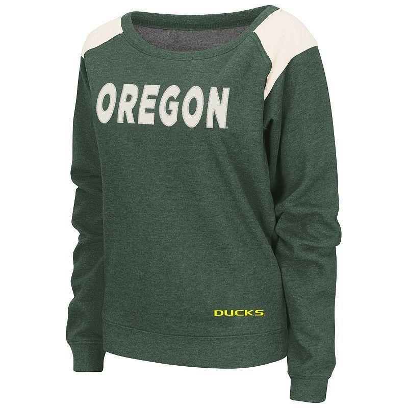 Women's Campus Heritage Oregon Ducks Tempest Boatneck Sweatshirt Top, Size: Small, Dark Green