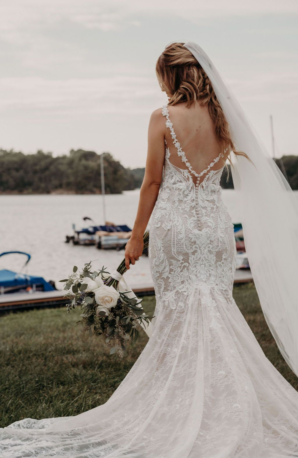 Low back fit and flare wedding dress in 2020 Essence of