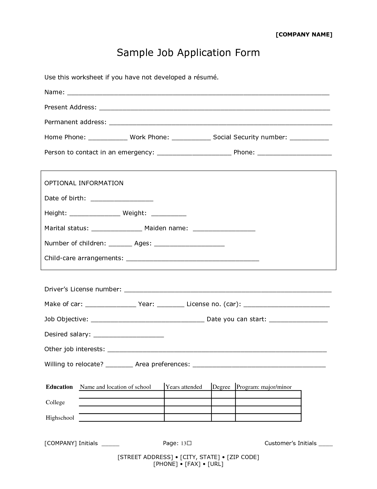 Sample Of Job Application Form Fa09ivho 13 Sample Of Job Application Form And Tips To Complete